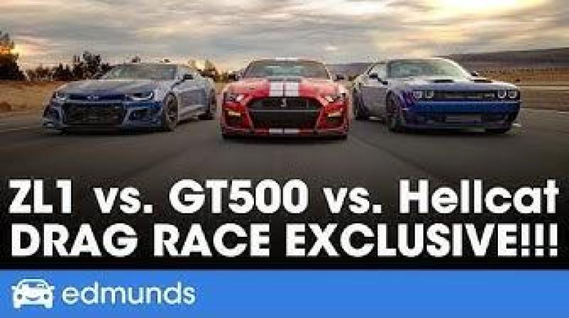 Cover for Muscle Car Drag Race: Dodge Challenger SRT Hellcat Redeye vs Chevrolet Camaro ZL1 vs Ford Mustang Shelby GT500