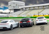 Cover for Porsche Taycan Turbo S flexing muscles on track